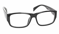 Svarte moderne briller uten styrke i rundt design